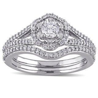 Laura Ashley 10k White Gold 5/8 ct TDW Diamond Milgrain Detail Split Shank Bridal Engagement Ring Set (G-H, I2-I3)