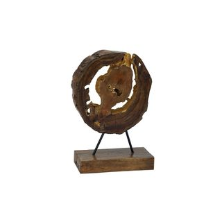 Teak Wood and Gold Metal 14-inch High x 9-inch Wide Sculpture