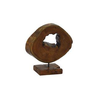 Brown Teak Wood and Metal Sculpture