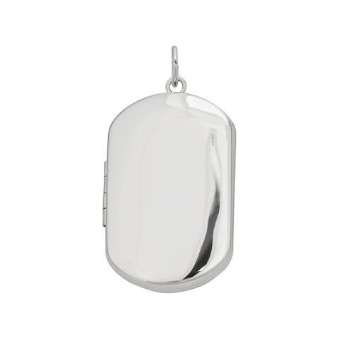 Decadence Sterling Silver Rhodium High-polish and Satin Reversible Dog Tag Locket Pendant
