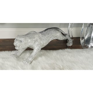 Polished Silver Rhinestone Leopard Figurine Sculpture