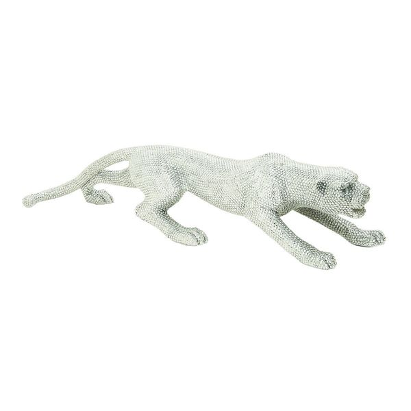 Polished Silver Rhinestone Leopard Figurine Sculpture