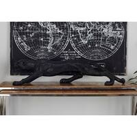 Black Resin 42-inches Wide x 11-inches High Leopard Sculpture