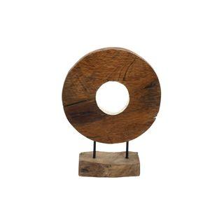 Teak Wood Ring Shape Disc Sculpture