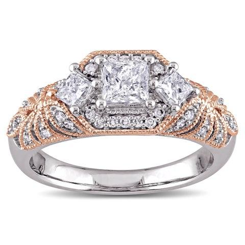Laura Ashley 10k 2-Tone White and Rose Gold 1ct TDW Diamond Princess and Round-cut Vintage Engagement Ring (G-H, I2-I3)