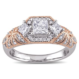 Laura Ashley 10k 2-Tone White and Rose Gold 1ct TDW Diamond Princess and Round-cut Vintage Engagement Ring (G-H, I2-I3) (More options available)