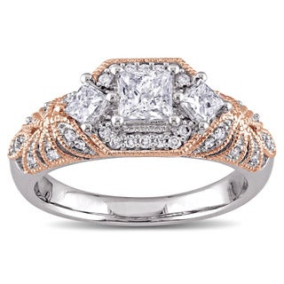 Laura Ashley 10k 2-Tone White and Rose Gold 1ct TDW Diamond Princess and Round-cut Vintage Engagement Ring (G-H, I2-I3)