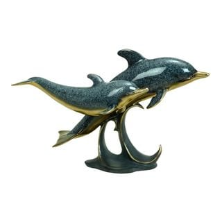 Multicolor Polystone 22-inch Wide x 14-inch High Dolphin Sculpture
