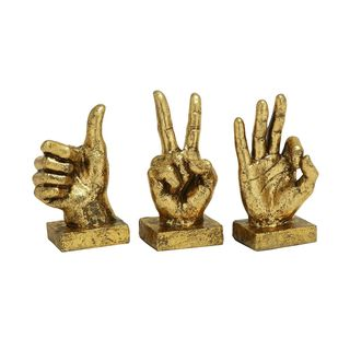 Polystone Resin Hand Gesture Sculptures (Set of 3)