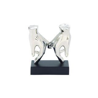 Porch & Den Hernando 7-inch Wide x 8-inch High Silver Ceramic Hands Sculpture