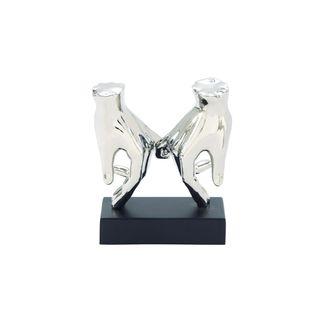 7-inch Wide x 8-inch High Silver Ceramic Hands Sculpture