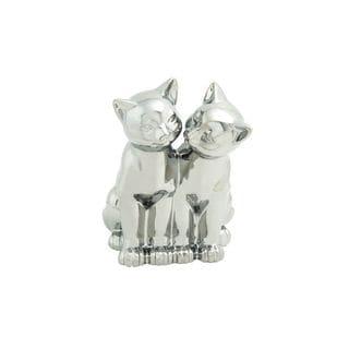 Decorative Porcelain Twin Cat Sculpture