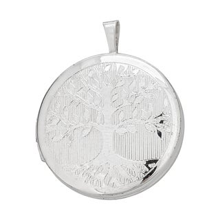 Decadence Sterling Silver Rhodium Tree of Life 22-millimeter Round Locket Pendant