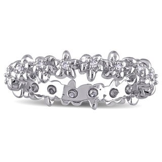 Laura Ashley Sterling Silver 1/10ct TDW Diamond Flower Eternity Ring (G-H, I2-I3)