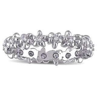 Laura Ashley Sterling Silver 1/10ct TDW Diamond Flower Eternity Ring