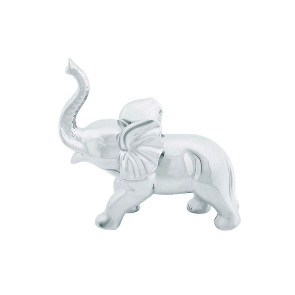 Delightful Silver Porcelain 21 Inches Wide X 12 Inches High Elephant Figurine