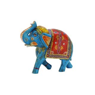 Painted Wood Elephant Statue