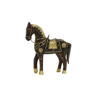Globetrotter Brass/Wood 15-inch High x 14-inch Wide Horse Figurine