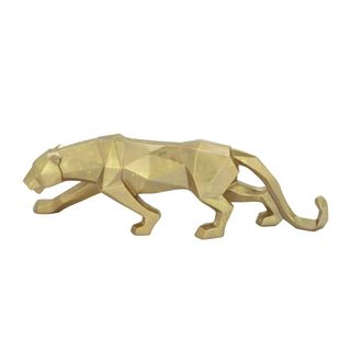 Gold-colored Resin Leopard Figurine