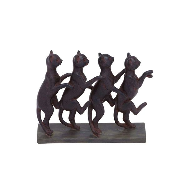 12 Inch Metal Home Decor Oriental Pearl Figurine Iron: Shop Black/Brown Resin Standing Cats Sculpture
