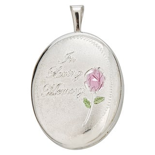 Decadence Loving Memory Sterling Silver Rhodium 16-millimeter Oval Locket Pendant
