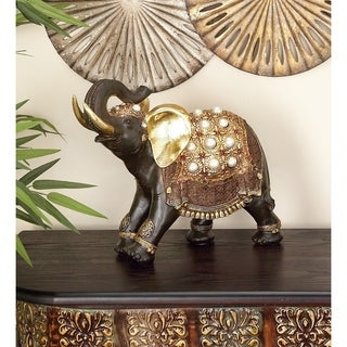 Polystone 12-inches High x 16-inches Wide Elephant Sculpture