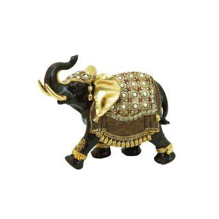 Gold Polystone Elephant Figurine