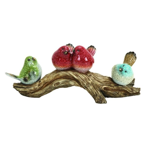Polystone 14-inches Wide x 6-inches High Birds on Stump