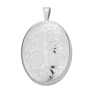 Decadence Sterling Silver Rhodium Tree of Life 16-millimeter Oval Locket Pendant