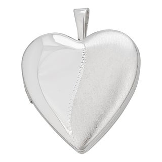Decadence Sterling Silver Rhodium High Polished and Satin 20-millimeter Heart Locket Pendant