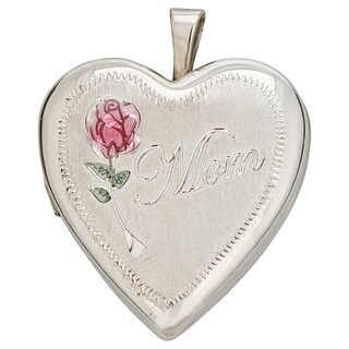 Decadence Sterling Silver Rhodium Satin Rose and MOM 20mm Heart Locket Pendant