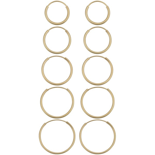 14k Yellow Gold Round Hoop Earrings. Opens flyout.