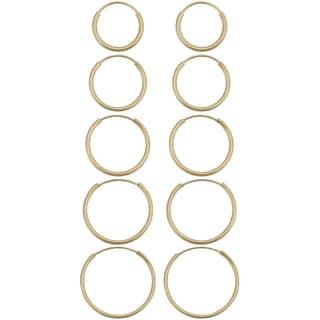 Fremada 14k Yellow Gold Delicate Round Tube Endless Hoop Earrings