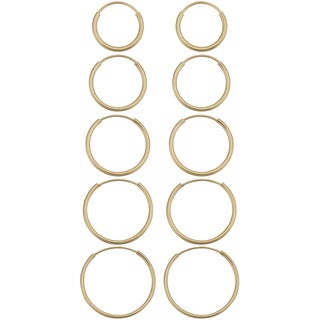 Fremada 14k Yellow Gold Delicate Round Tube Endless Hoop Earrings (5 options available)