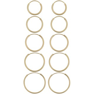 Fremada 14k Yellow Gold Delicate Round Tube Endless Hoop Earrings