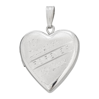 Decadence Sterling Silver Rhodium Satin My Daughter 20mm Heart Locket Pendant