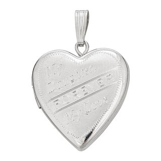 Decadence Sterling Silver Rhodium Satin My Daughter 20mm Heart Locket Pendant