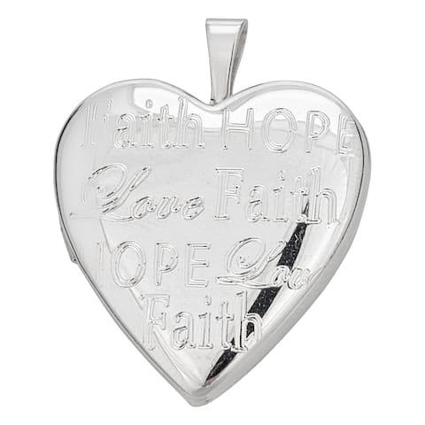 Decadence Sterling Silver Rhodium Faith, Hope, Love 20mm Heart Locket Pendant