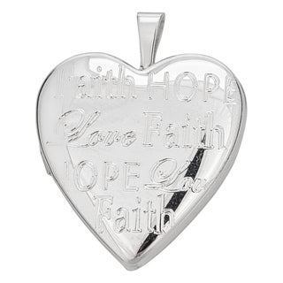 Decadence Sterling Silver Rhodium Faith, Hope, Love 20mm Heart Locket Pendant