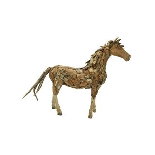 Teak Wood 103-inches Wide x 75-inches High Rustic Horse