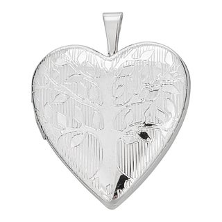 Decadence Tree of Life Rhodium-plated Sterling Silver 20-millimeter Heart Locket Pendant