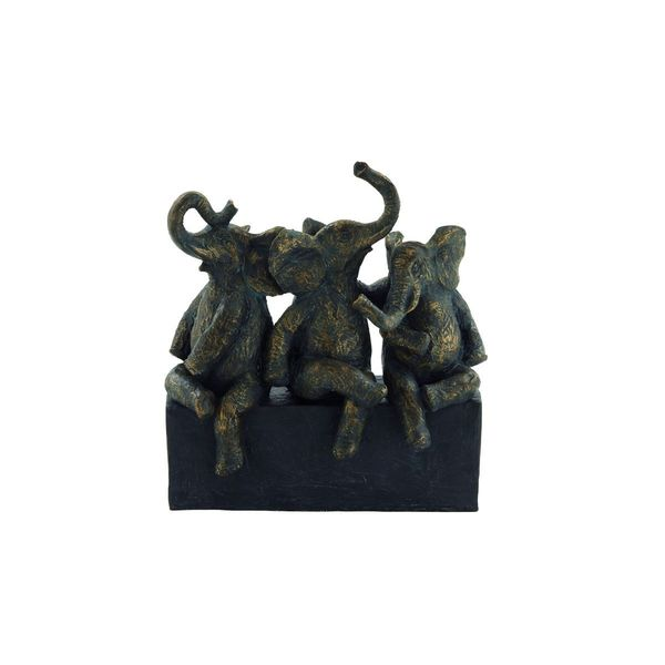 The Curated Nomad Merced Black and Brown Polystone Sitting Elephants
