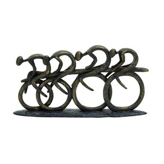 Polystone 8-inches High x 15-inches Wide Racing Bicyclers Sculpture