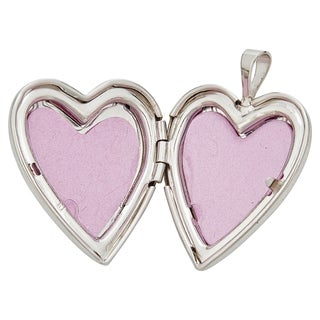 Decadence Sterling Silver Rhodium High Polished and Satin Reversible Heart Locket Pendant