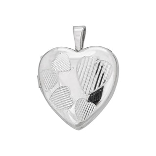 Decadence Sterling Silver Rhodium High-polished and Satin Multi Heart 13-millimeter Locket Pendant