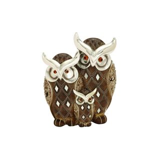 Polystone 8-inch High x 7-inch Wide Owl Family Sculpture