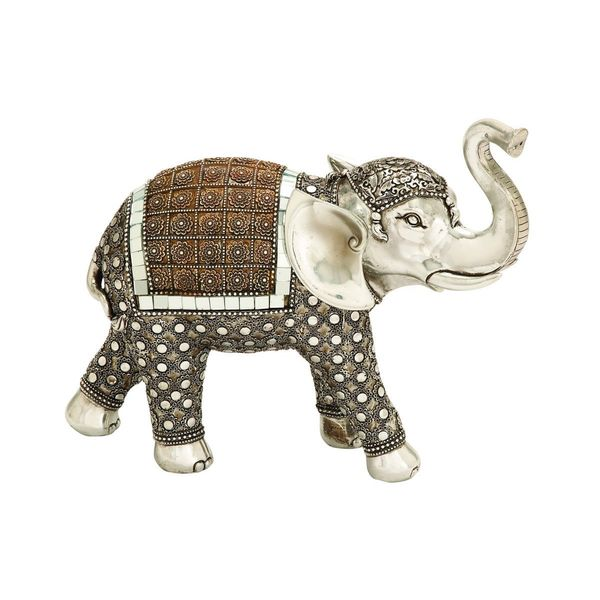 Goldtone/Silvertone Polystone 11-inches High x 13-inches Wide Elephant Sculpture