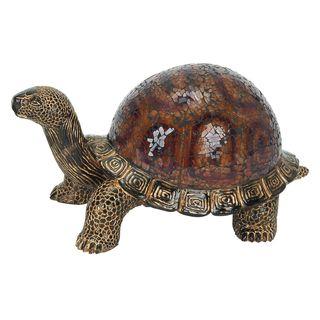 Brown Resin Mosaic Turtle Figurine