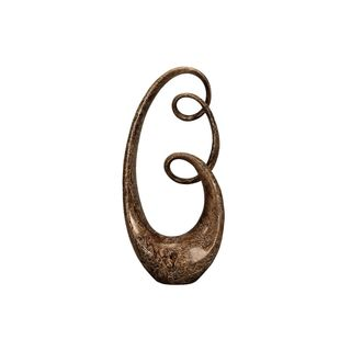 Brown Patina Polyston Abstract Infinity Sculpture