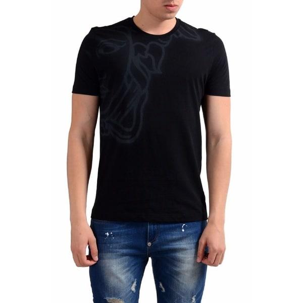012585bb Shop Versace Collection Half Medusa Black Cotton T-shirt - Free ...